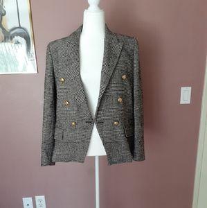 Vintage Zara Plaid Double Breasted Jacket